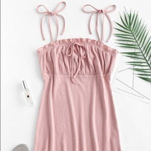 ZAFUL NEW Empire Waist Ruffles Cami Dress - Pink